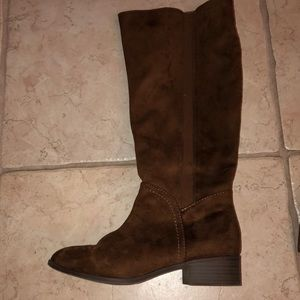 Brown suede riding boots